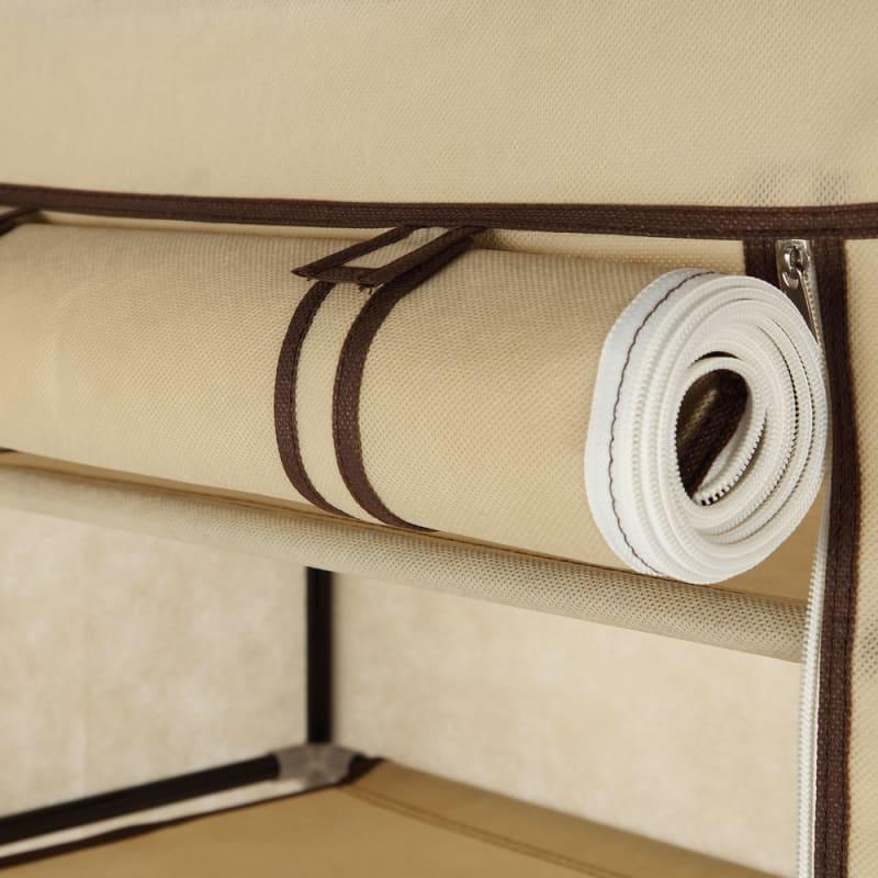 Homegear Large Free Standing Fabric Shoe Rack / Storage Cabinet Cream #3