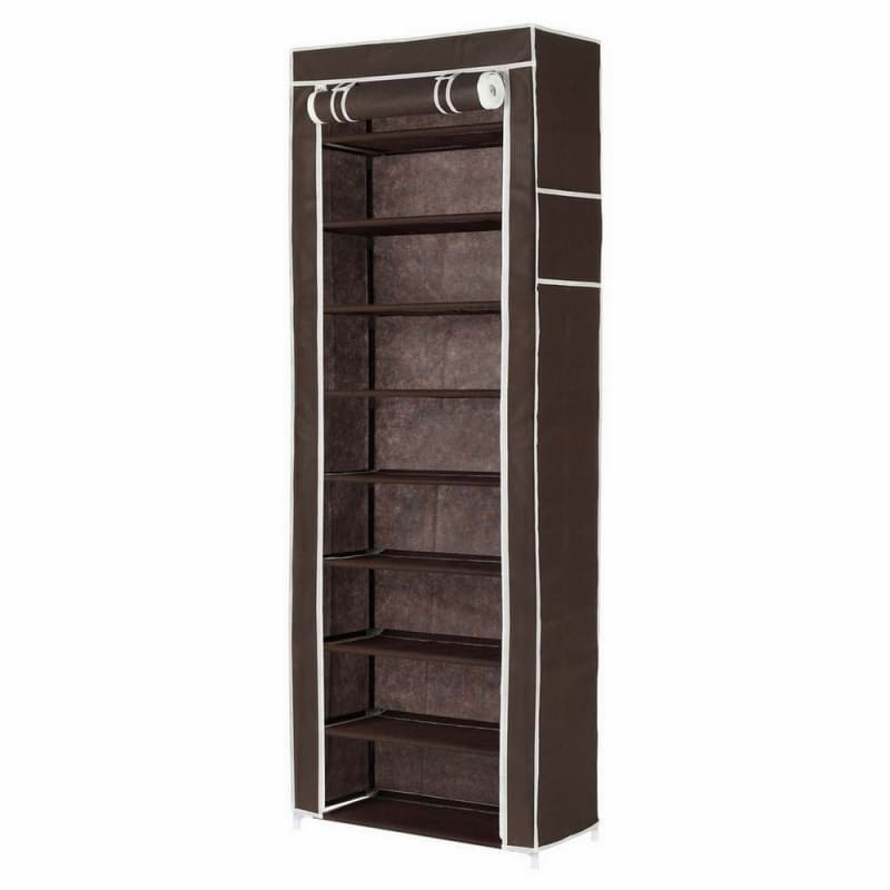 OPEN BOX Homegear Large Free Standing Fabric Shoe Rack /Storage Cabinet Dark Brown