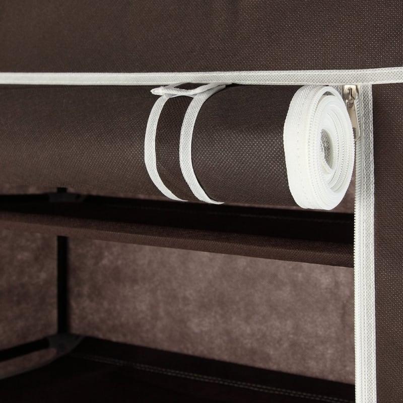 OPEN BOX Homegear Large Free Standing Fabric Shoe Rack /Storage Cabinet Dark Brown #4