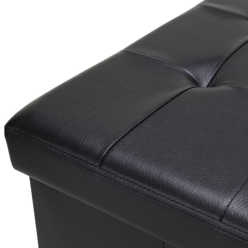 "Homegear 30"" Folding Storage Ottoman / Footstool Black #2"