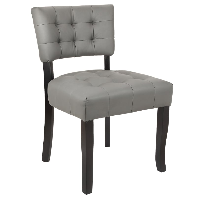Homegear Oversized Tufted Faux Leather Accent Chair, Gray
