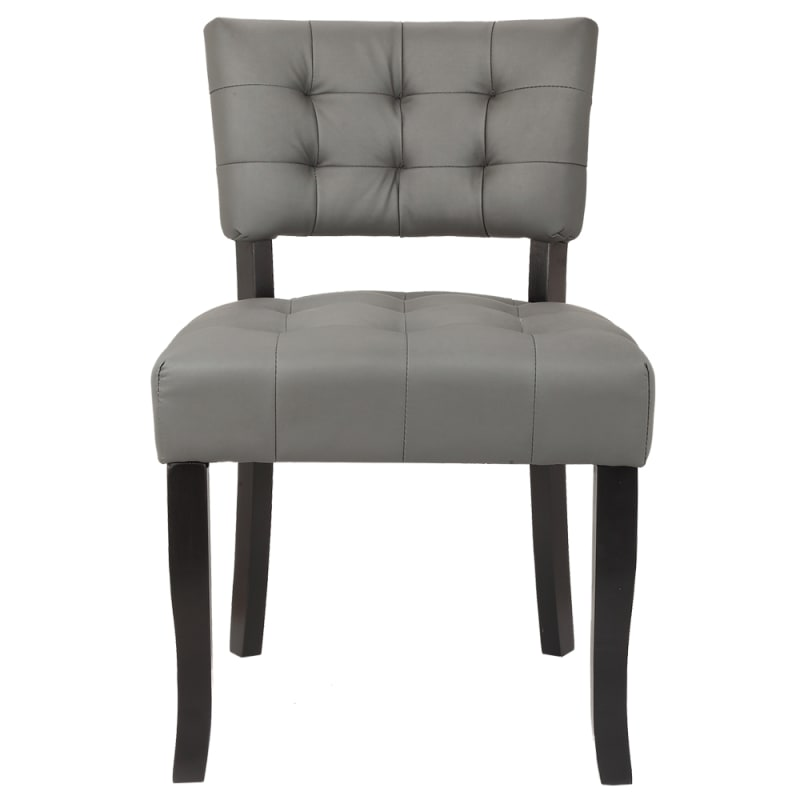 Homegear Oversized Tufted Faux Leather Accent Chair, Gray #1