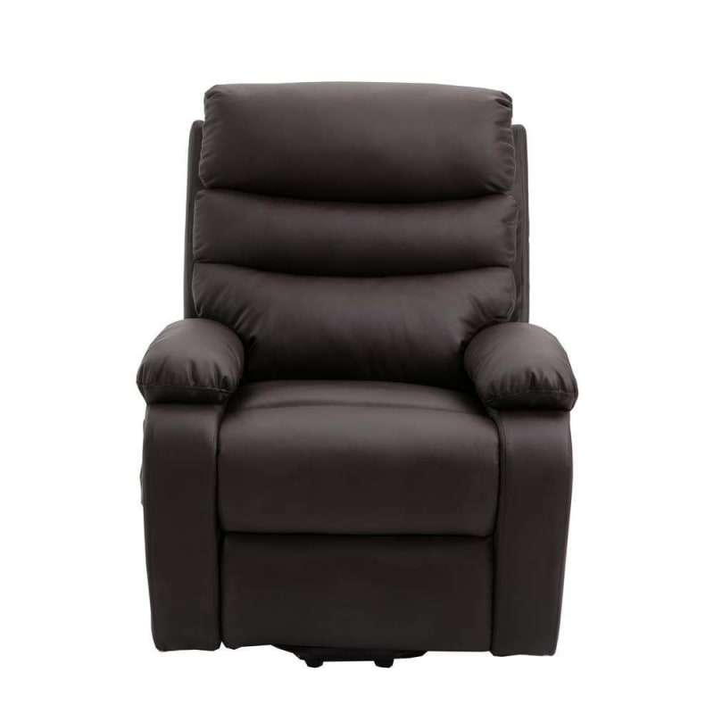 OPEN BOX Homegear PU Leather Power Lift Electric Recliner Chair with Massage, Heat and Vibration with Remote - Brown #1