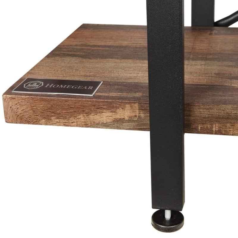 Homegear Furniture Vintage Oak Style 2-Tier Bookcase - Wood Shelves with Black Iron Frame #3