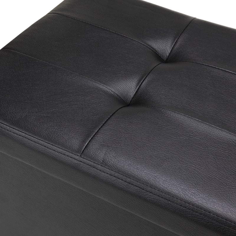"Homegear 43.3"" Folding Storage Ottoman / Footstool Black #2"