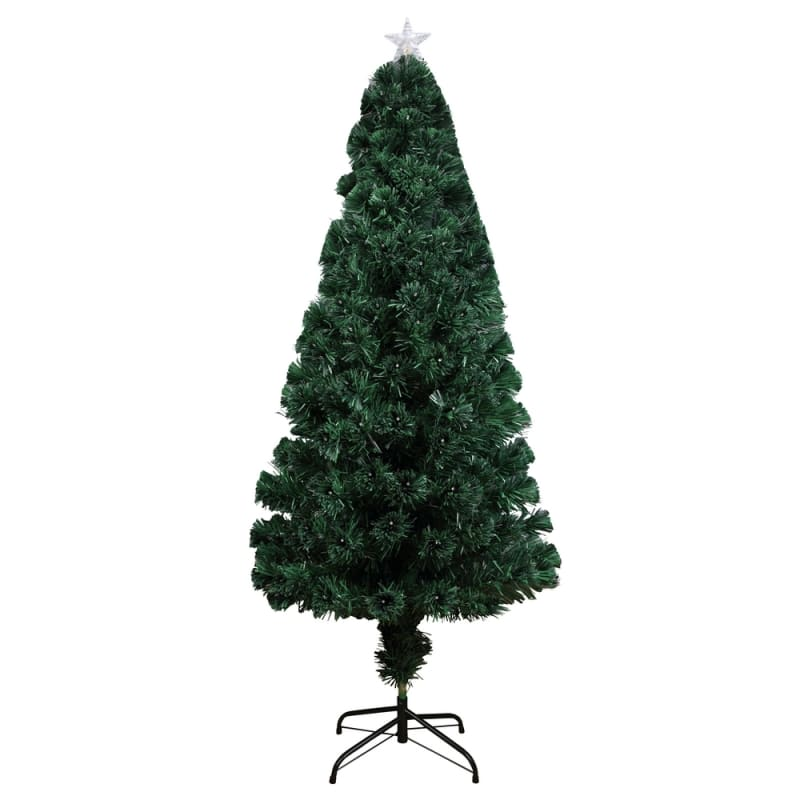 Homegear Artificial Pre-Lit Fiber-Optic Christmas Tree 5ft, Pre-lit with 175 Color Lights, Metal Stand and Star #2
