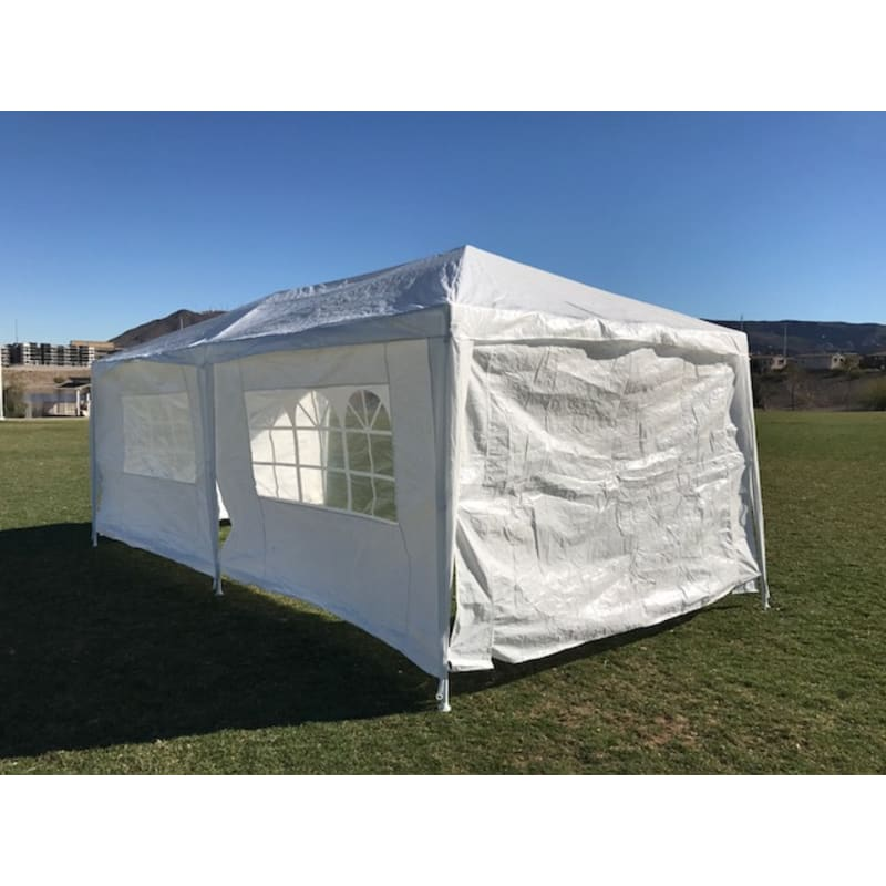 Palm Springs 10' x 20' White Canopy Party Tent with 4 Sidewalls #2