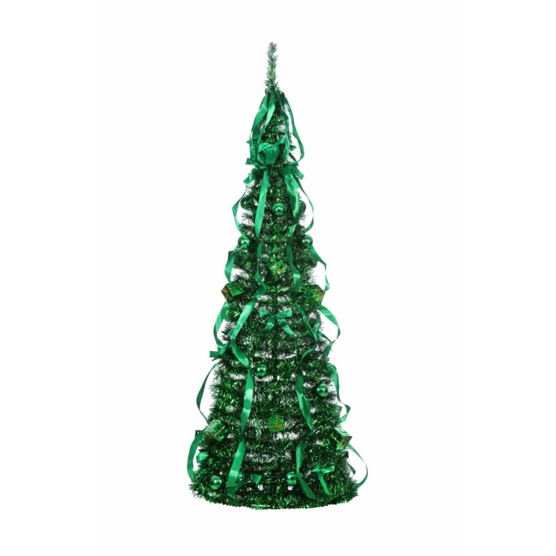 Homegear 5FT Artificial Tinsel Decorated Collapsible Christmas Tree - Green #2