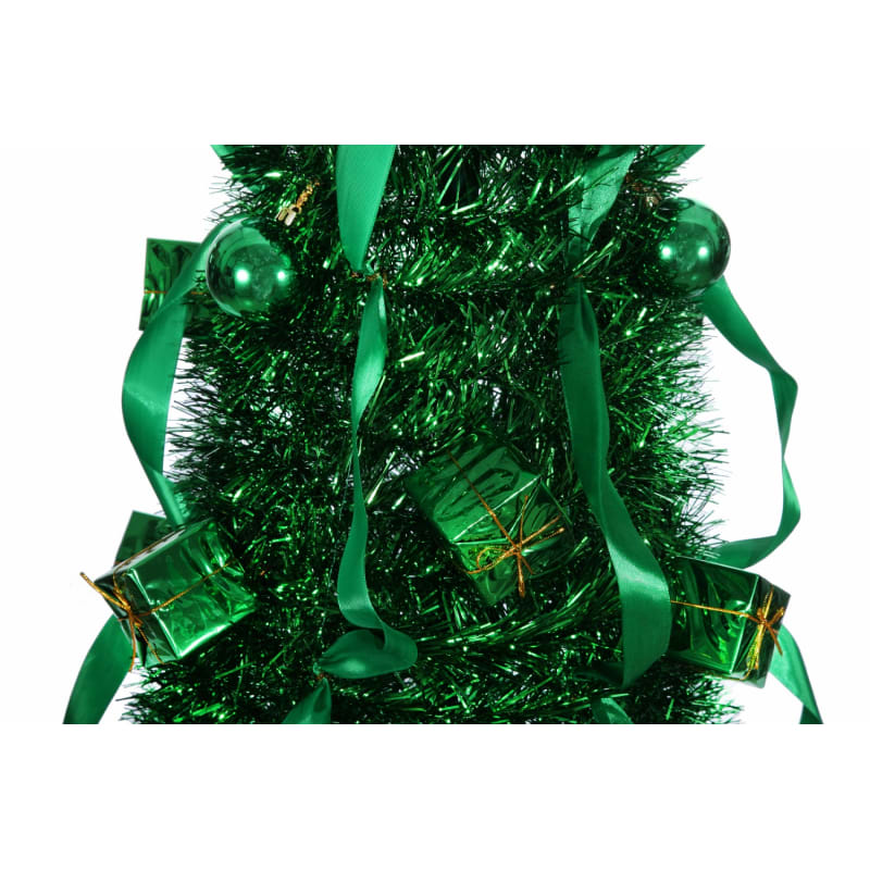 Homegear 5FT Artificial Tinsel Decorated Collapsible Christmas Tree - Green #3