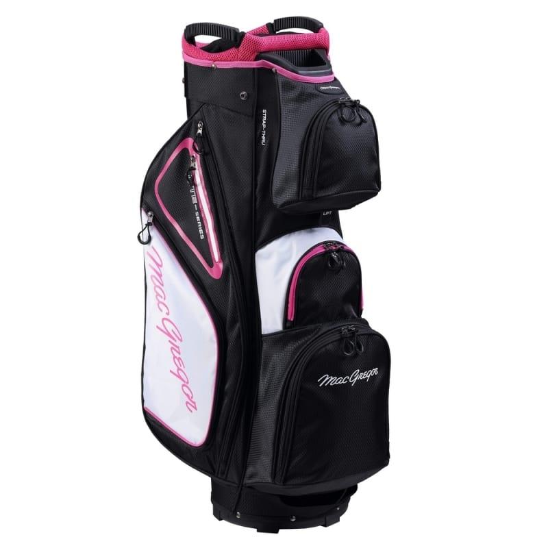 """MacGregor Golf VIP Deluxe 14-Way Ladies Cart Bag, 9.5"""" Top, Black/White/Pink #"""