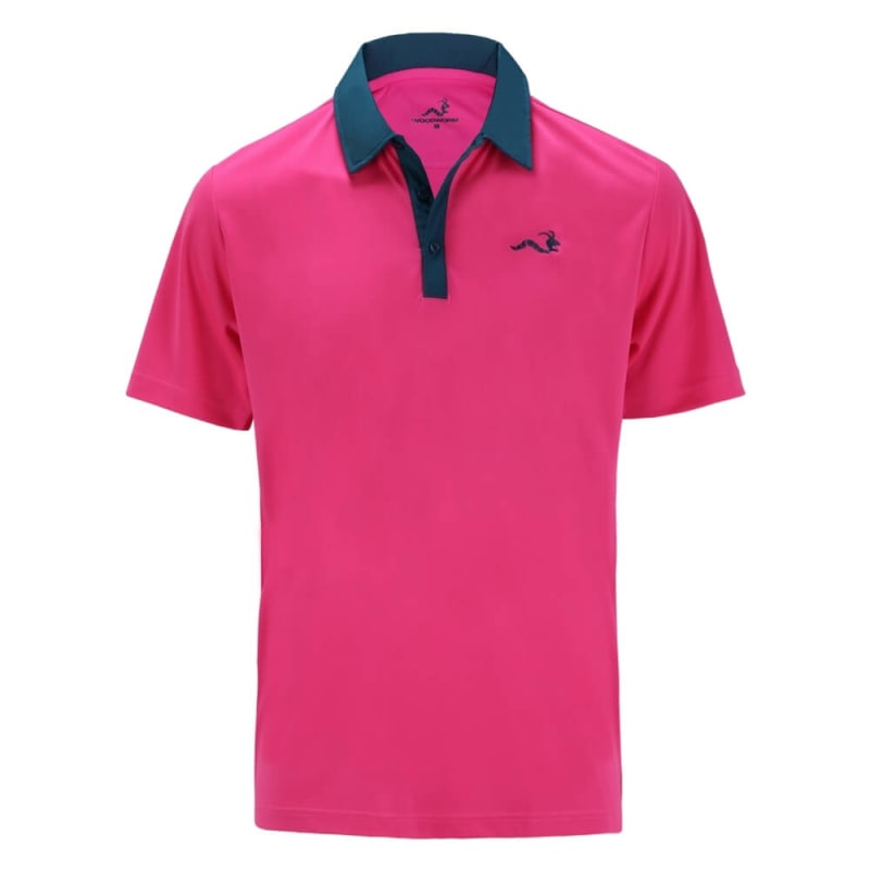 Woodworm Solid Tech Golf Polo Shirts - Pink/Blue