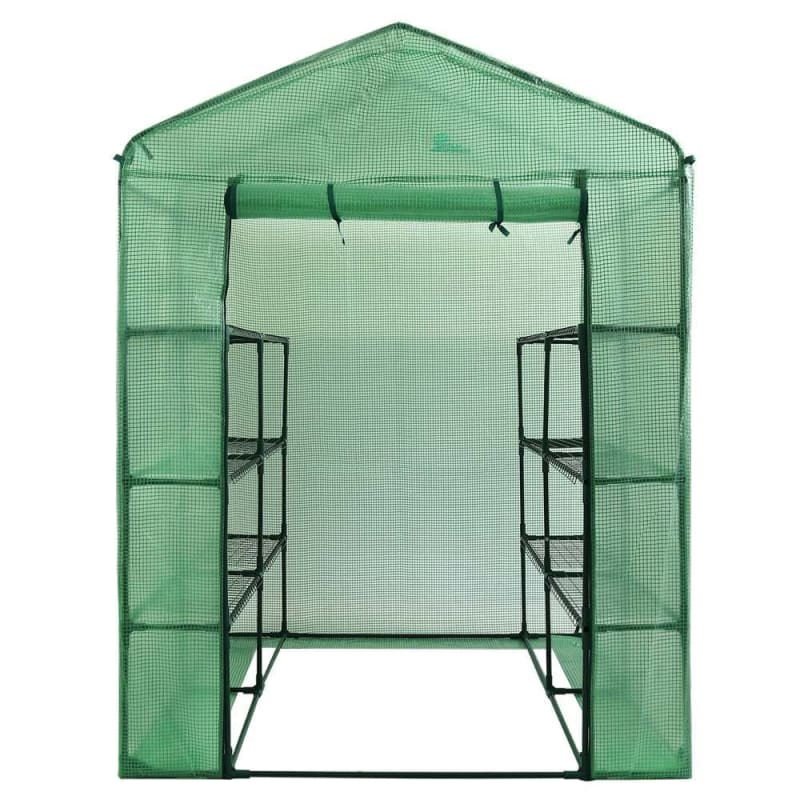 Palm Springs 12-Shelf Walk-in Greenhouse - Green Plastic Cover with Zippered Roll-Up Door #1