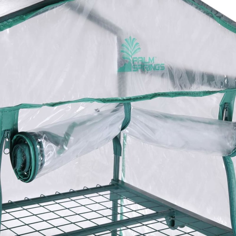 Palm Springs 3-Tier Mini Greenhouse with Cover and Roll-up Zipper Door #3