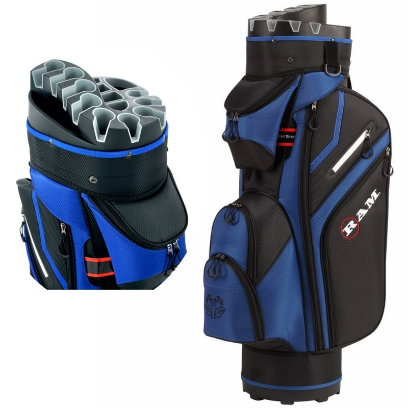 Ram Golf Premium Trolley Bag with 14 Way Molded Organiser Divider Top Black Blue