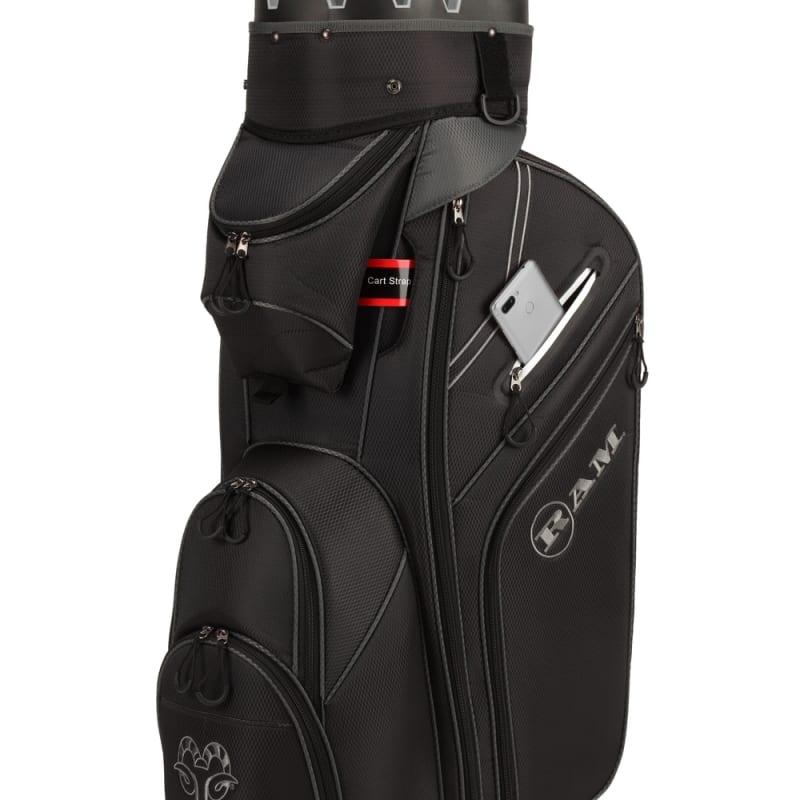 Ram Golf Premium Cart Bag with 14 Way Molded Organizer Divider Top Black Silver #3
