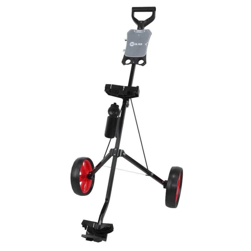 Ram Golf 2 Wheel Folding Steel Pull Cart with Water Bottle, Scorecard Holder and Removable Wheels #