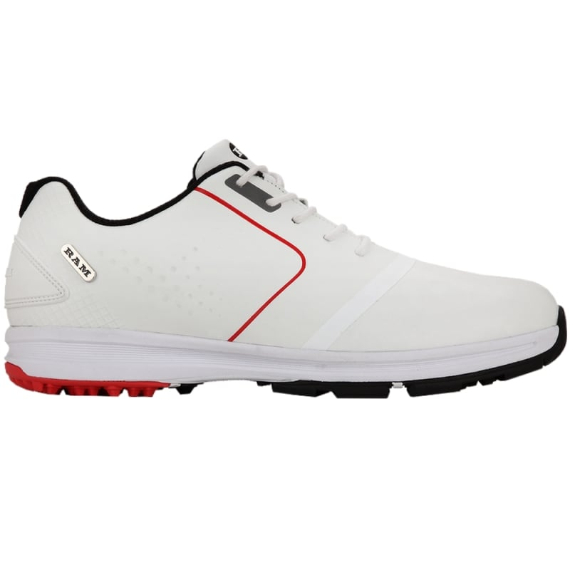 Ram Golf Player Mens Waterproof Golf Shoes - White / Red #2