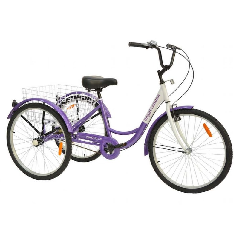 Royal London Adult Tricycle 3 Wheeled Trike Bicycle with Wire Shopping Basket - Purple