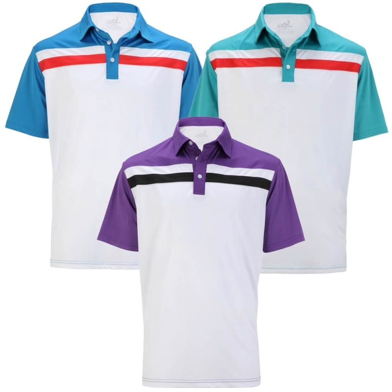 Woodworm Contrast Panel Golf Polo Shirts - 3 Pack