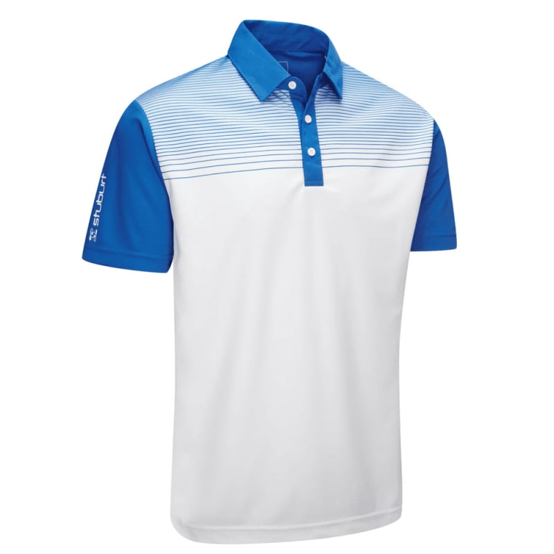 Stuburt Endurance Faded Stripe Polo Shirt White Blue