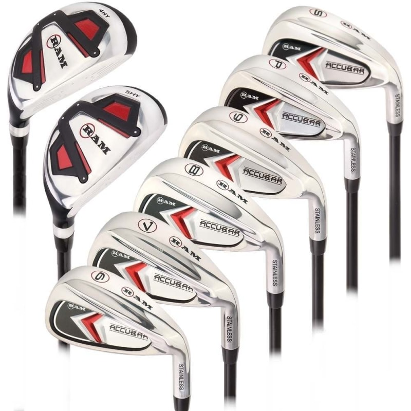 Ram Golf Accubar Mens Clubs All Graphite Iron Set 6-7-8-9-PW-SW with Hybrids 24° and 27° - Stiff Flex
