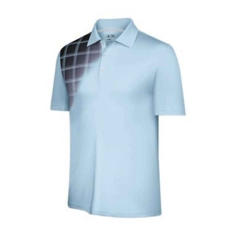 Adidas Mens ClimaCool Plaid Fade Polo Cloud