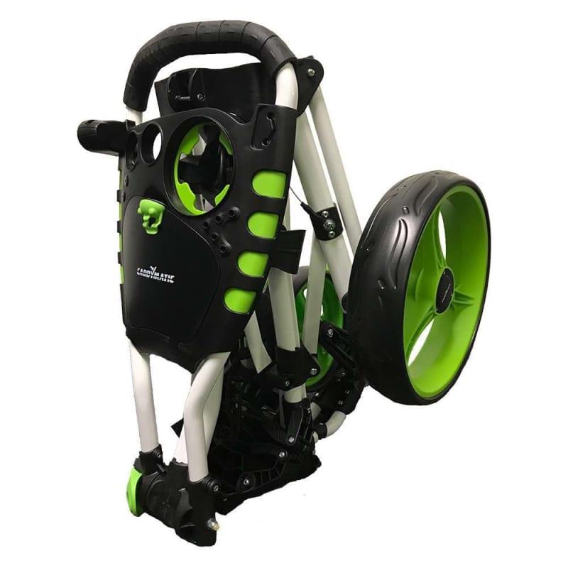 OPEN BOX Caddymatic Golf 360° SwivelEase 3 Wheel Folding Golf Cart White/Green #