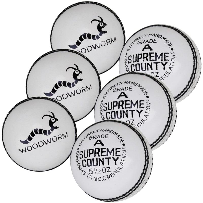 6 x Woodworm Supreme County 5 1/2oz Cricket Balls