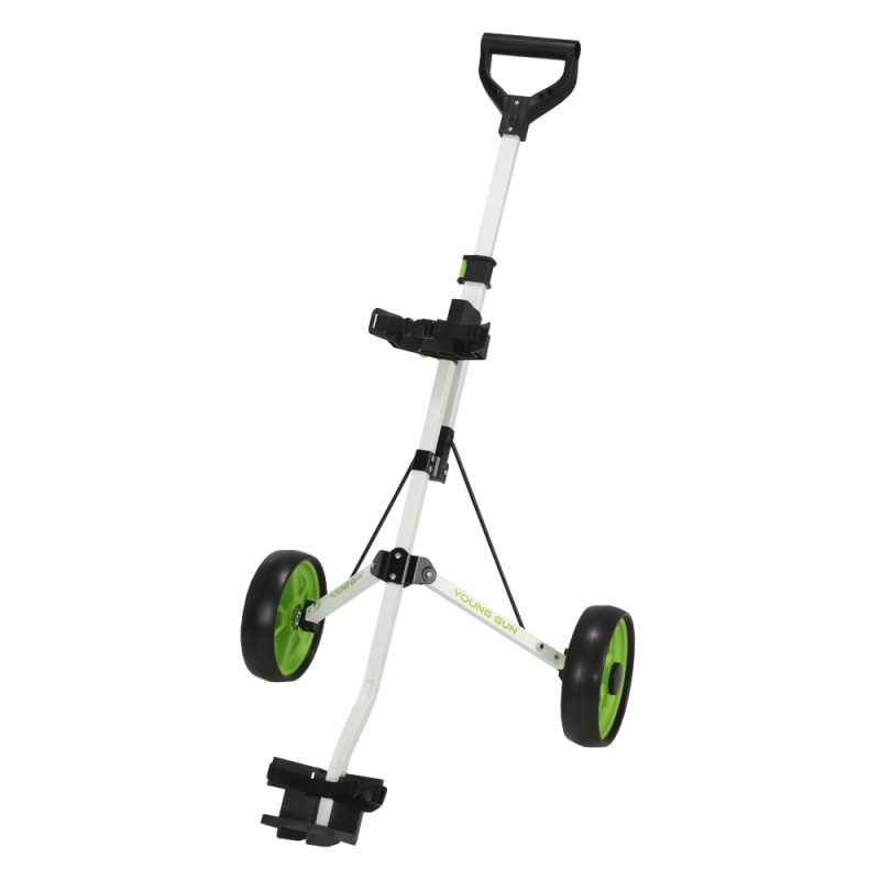 Young Gun Kids Adjustable Golf Cart for Junior Golfers 3-14 Years Old - White/Green #