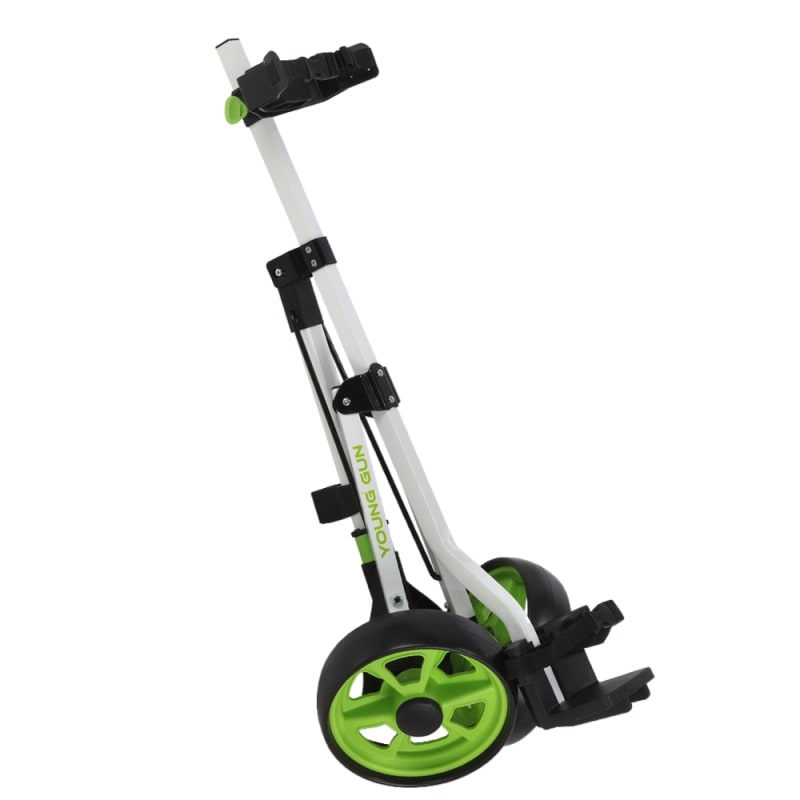 Young Gun Kids Adjustable Golf Cart for Junior Golfers 3-14 Years Old - White/Green #1