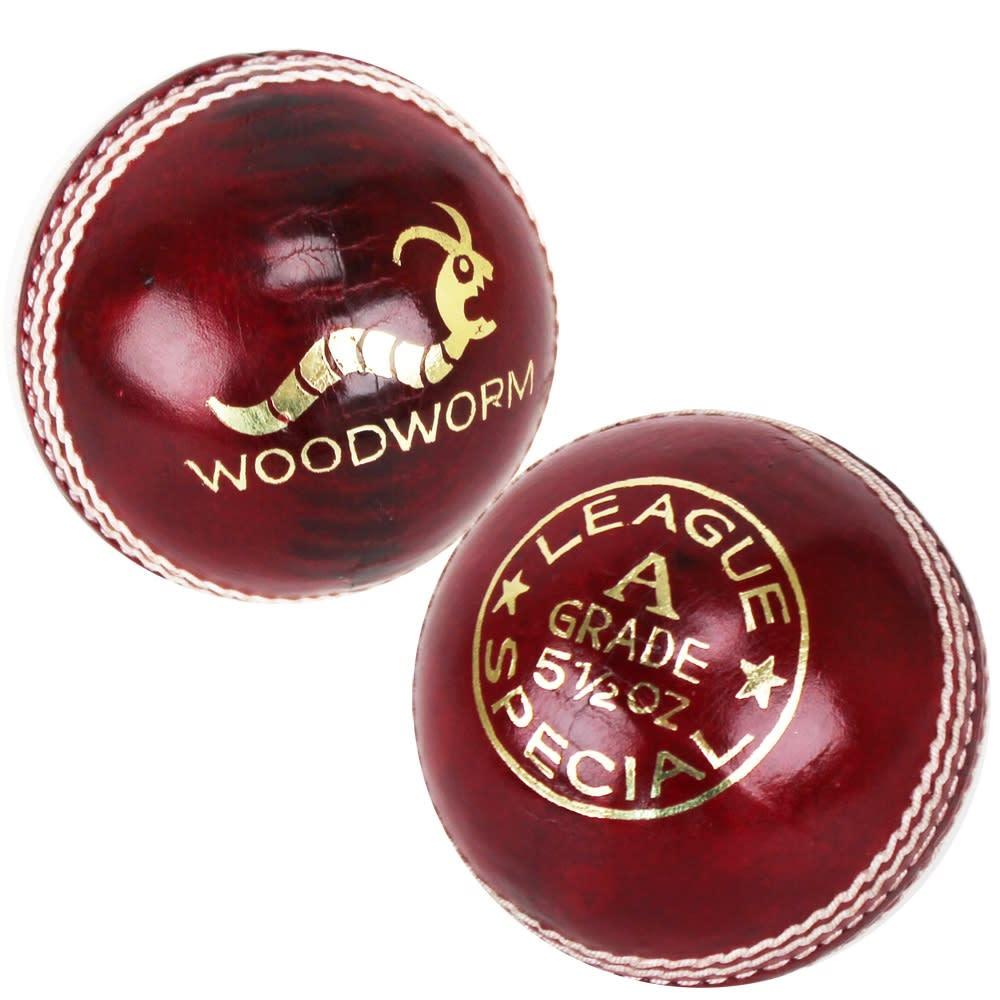 6 x Woodworm League 5 1/2oz Cricket Balls - Red