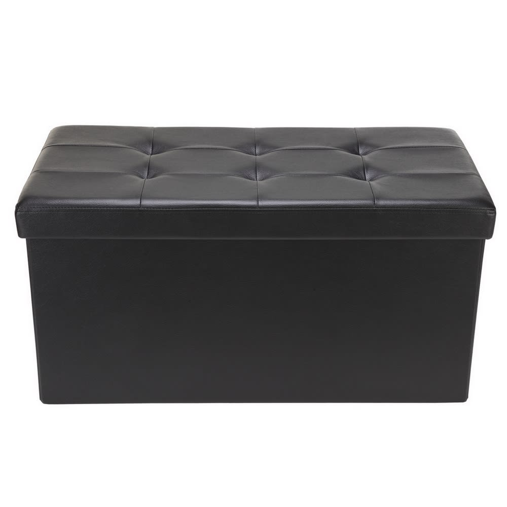Outstanding Homegear 30 Folding Storage Ottoman Footstool Black Andrewgaddart Wooden Chair Designs For Living Room Andrewgaddartcom