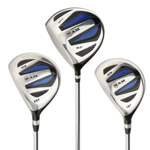 Ram Golf EZ3 Mens Wood Set inc Driver, 3 Wood and 5 Wood - Headcovers Included - Steel Shafts - Lefty