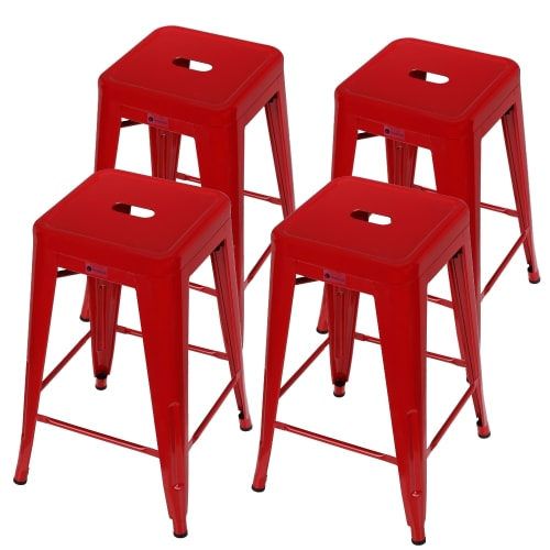Homegear 4 Pack Stackable Metal Kitchen Stools - Red