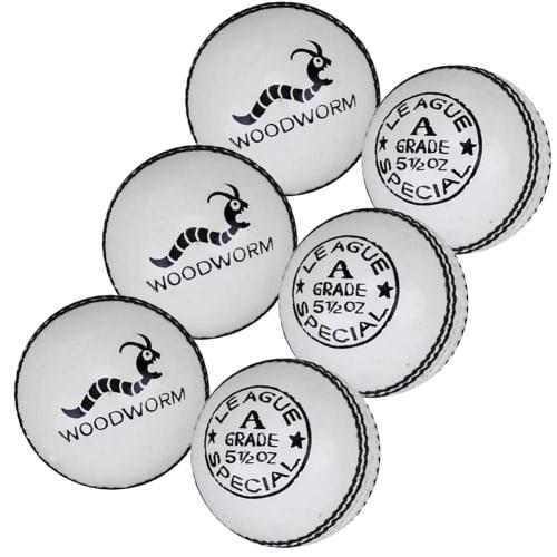6 x Woodworm League 5 1/2oz Cricket Balls - White
