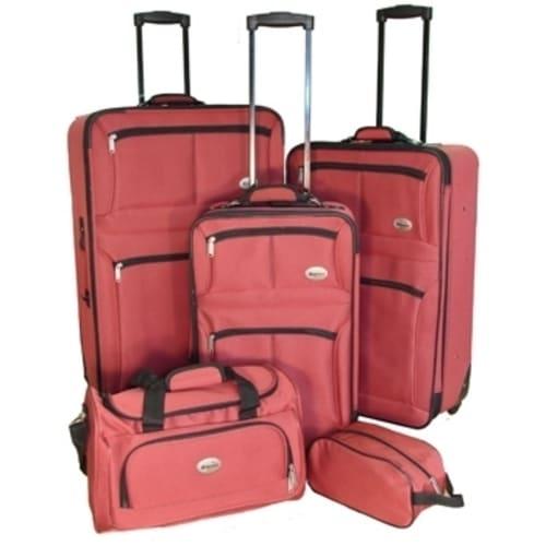 OPEN BOX Confidence 5 Piece Expandable Suitcase Set Red