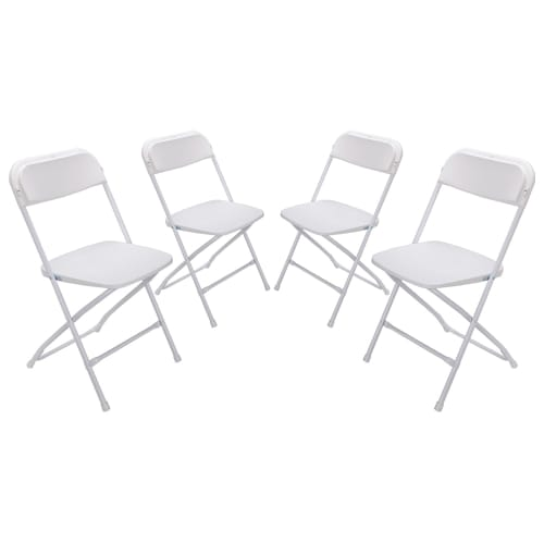 OPEN BOX Palm Springs Heavy Duty Folding Plastic/Steel Chairs – 4 PACK