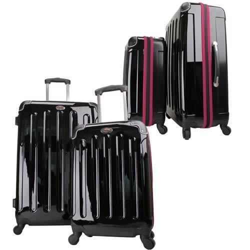 Swiss Case 4 Wheel 2pc Suitcase Set Black / Purple