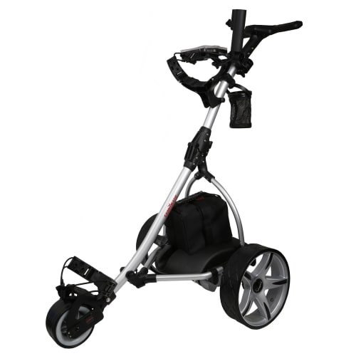 Caddymatic V2 Electric Golf Trolley / Cart With 36 Hole battery With Auto-Distance Functionality Silver / Black