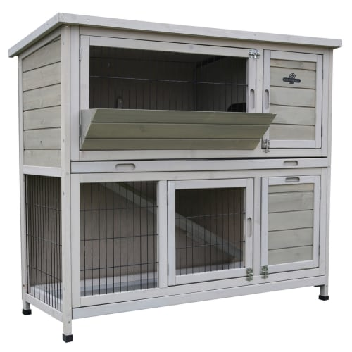 Confidenec Pet Rabbit Hutch, 4ft 2-Story with Ramp Wooden Hutch, Taupe