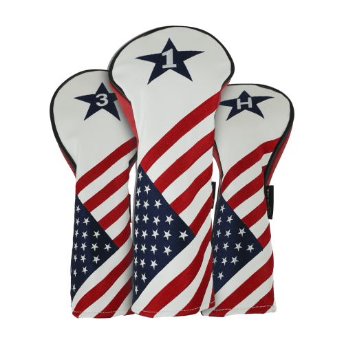 Ram Golf USA Stars and Stripes PU Leather Headcover Set For Driver, #3 Wood, #5 Wood
