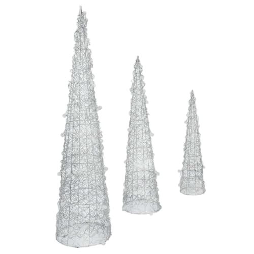 OPEN BOX Homegear Christmas Silver Cone Tree 3 Pack - Pre-Lit with 75 LED Lights - Indoor or Outdoor Use