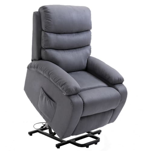 Homegear Microfiber Power Lift Electric Recliner Chair with Massage, Heat and Vibration with Remote - Charcoal