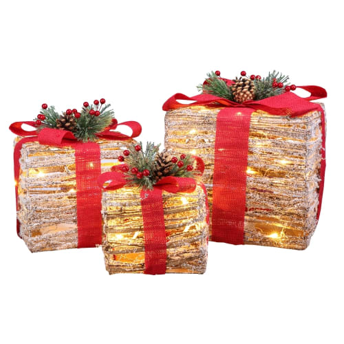 Homegear Christmas Set of 3 Pre-lit Gift Present Boxes with 60 LED Lights - Indoor or Outdoor Yard/Lawn Use - Wicker Red Bow