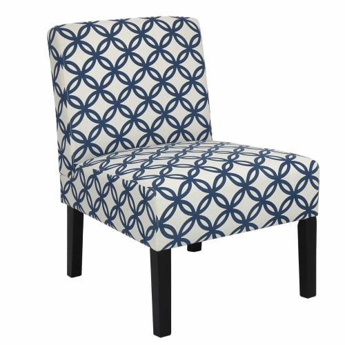 Homegear Home Furniture Accent Armless Chair - Contemporary Designs - Blue Intersecting Circles