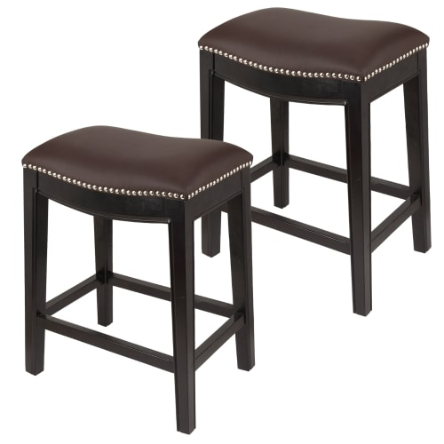 Homegear Faux Leather Backless Metal-Stud Bar Stools, Set of 2, Brown