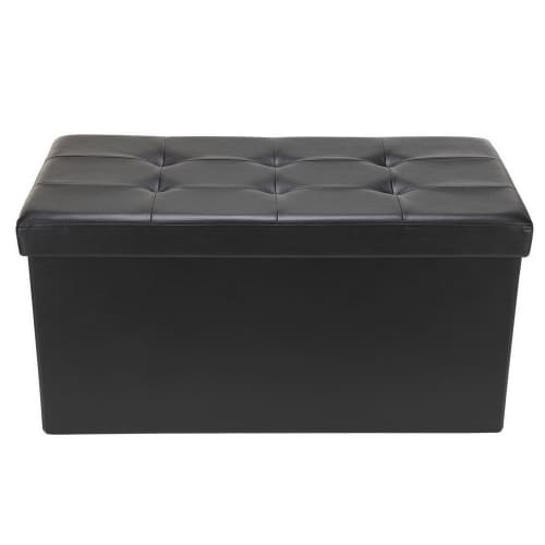 "Homegear 30"" Folding Storage Ottoman / Footstool Black"