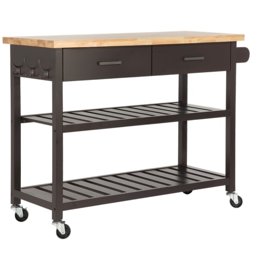 Homegear Open Storage V2 Kitchen Cart Island Brown