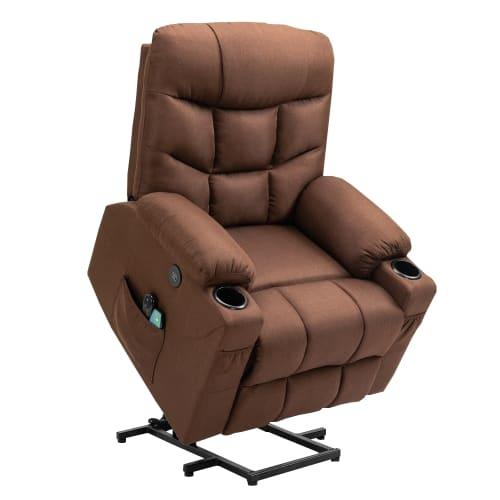 Homegear Fabric Power Lift Electric Recliner Chair w/ Massage, Brown