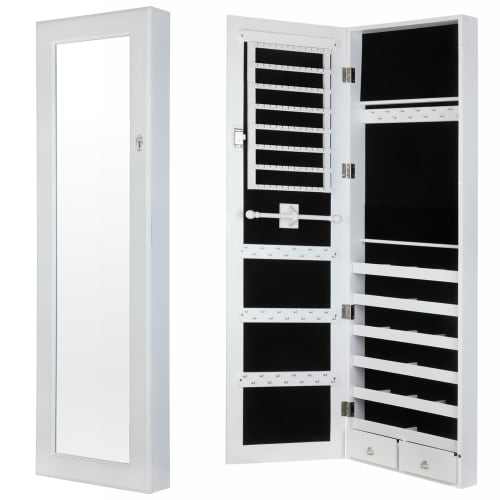 Homegear Modern Wall Mounted Mirrored Jewelry Cabinet